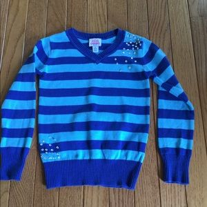 Girls 5/6 shades of blue striped V back sweater
